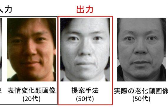 老化時の皺の個人性を考慮した経年変化顔画像合成