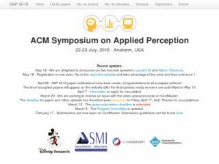 ACM Symposium on Applied Perception (SAP) 2016