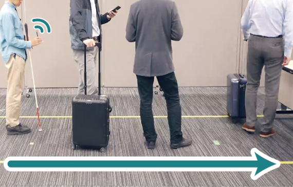 Smartphone-Based Assistance for Blind People to Stand in Lines